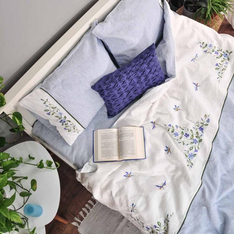 Лляна постіль з вишивкою БАРВІНОК 2-спальний ЄВРО