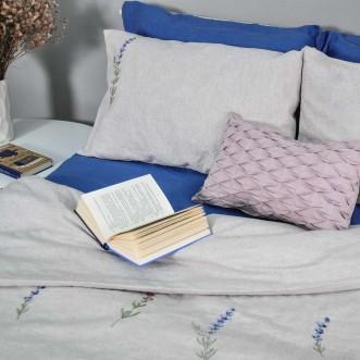 Постіль з льону ЛАВАНДА синя 2-спальний ЄВРО