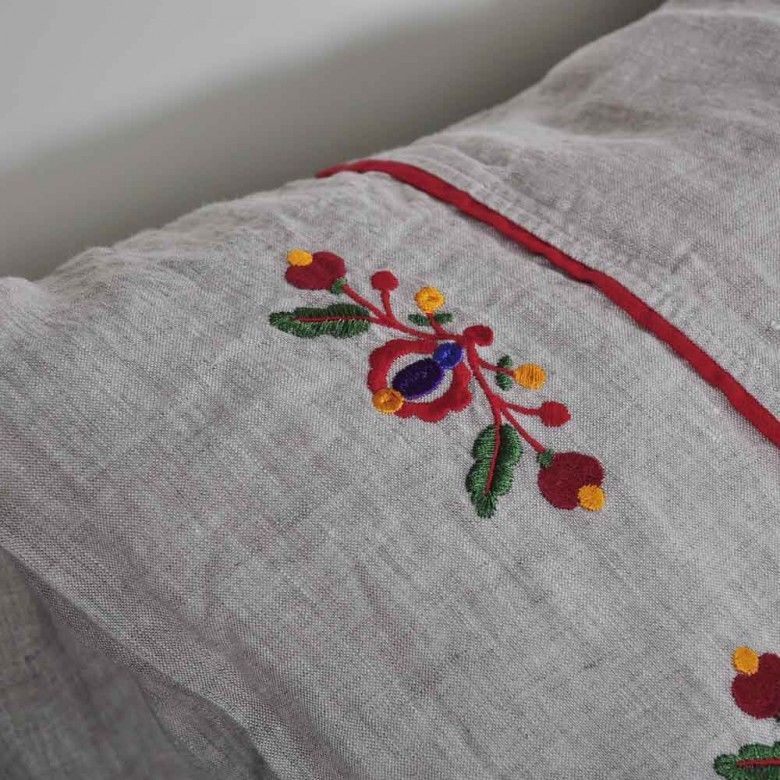Льняное постельное белье ЯВОРИВСКИЕ ЦВЕТЫ 2-спальный комплект ЕВРО мод.1