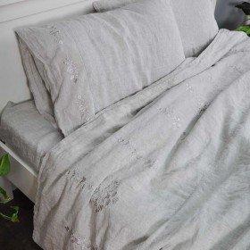 Постіль з льону ГАРМОНІЯ СІРА 2-спальний ЄВРО мод.2