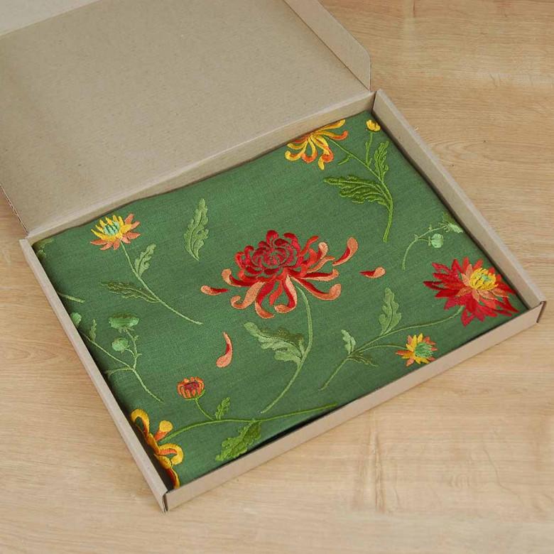 Доріжка Хризантеми 140*40см (зелений льон)