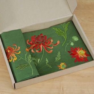 Набор столовый Хризантемы: дорожка 90*40см и 4 салфетки 40*40см (зеленый лен)