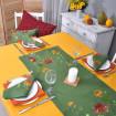 Набір столовий Хризантеми: доріжка 90*40см та 4 серветки 40*40см (зелений льон)