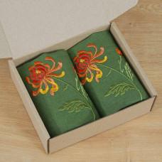 Набір серветок на стіл: 2 серветки Хризантеми 40*40см (зелений льон)