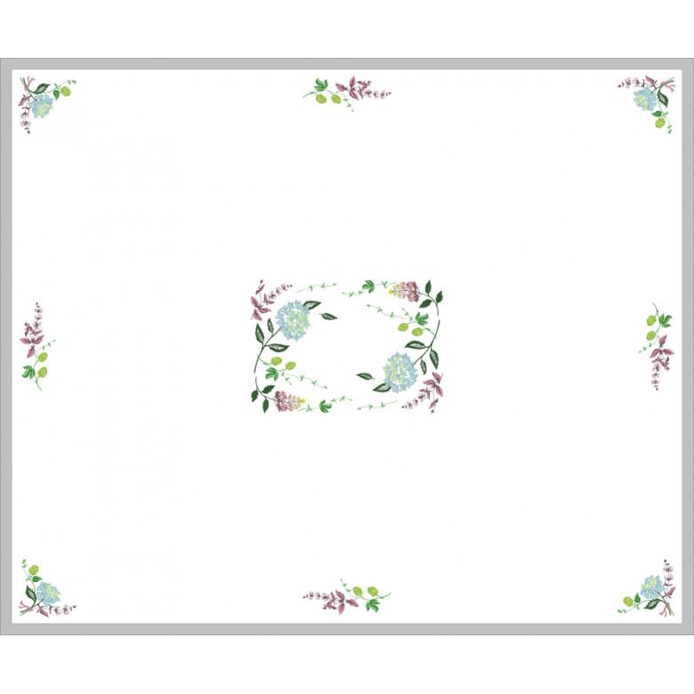 Скатертина ГОРТЕНЗІЯ на 4-8 персон (білий льон)