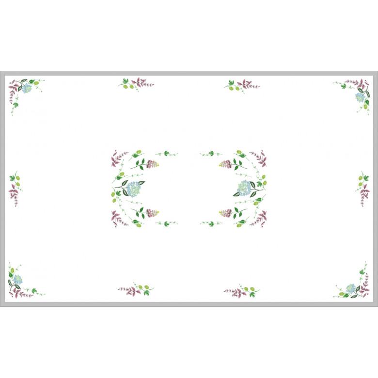 Скатертина ГОРТЕНЗІЯ на 8-12 персон (білий льон)