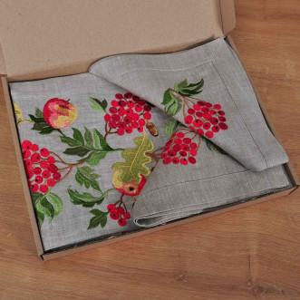 Набір столовий Калина з яблуками: доріжка 140*40см та 4 серветки 40*40см (сірий льон)