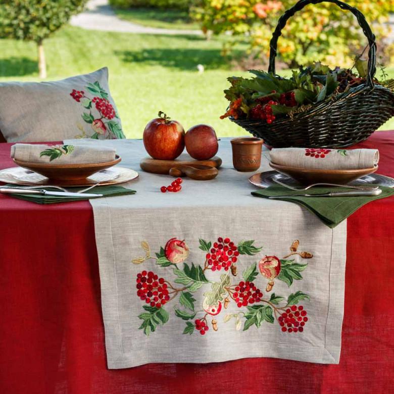 Доріжка Калина з яблуками 140*40см (сірий льон)