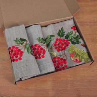 Набір столовий Калина з яблуками: доріжка 90*40см та 4 серветки 40*40см (сірий льон)