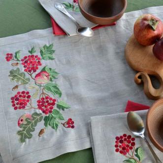 Доріжка Калина з яблуками 90*40см (сірий льон)