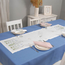 Набір столовий КОНВАЛІЯ 140*40 та 4 серветки (білий та рожевий льон)