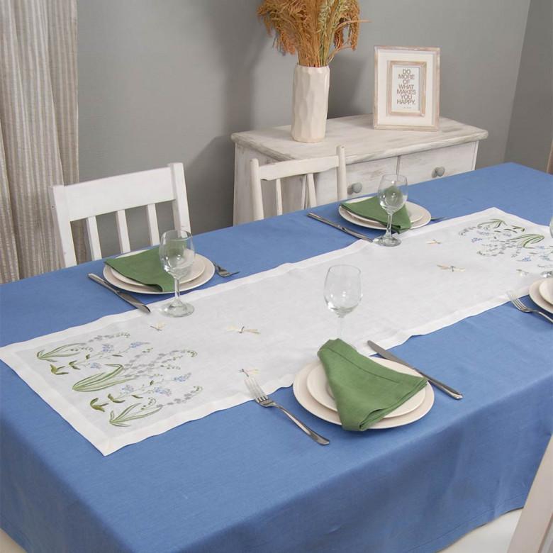 Набір столовий КОНВАЛІЯ 140*40 та 4 серветки (зелений льон)