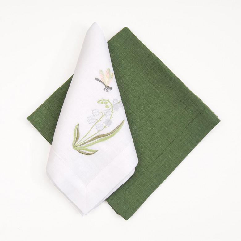 Набір столовий КОНВАЛІЯ 90*40 та 4 серветки (білий та зелений льон)