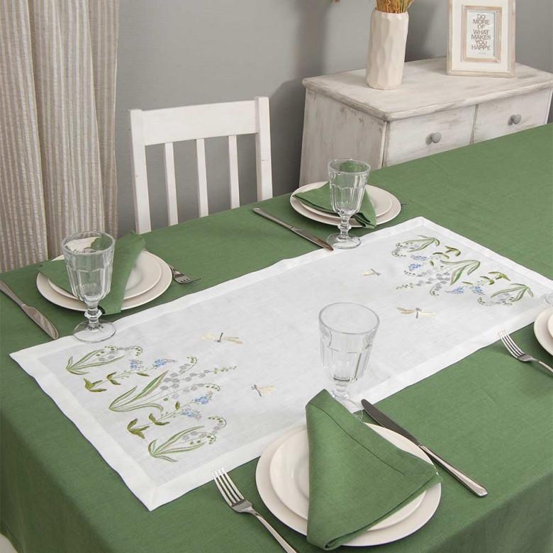 Набір столовий КОНВАЛІЯ 90*40 та 4 серветки (зелений льон)