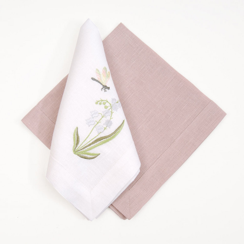 Набір серветок КОНВАЛІЯ - 4 шт. (білий+рожевий льон)
