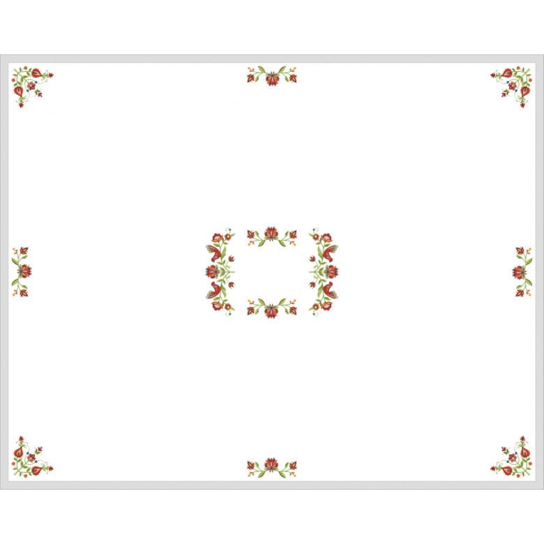 Вишита скатертина в українському стилі Дерево життя на 4-6 персон 180см (білий льон)