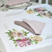 Набір столовий Півонія 65*65 та 2+2 серветки (білий та мокко льон)