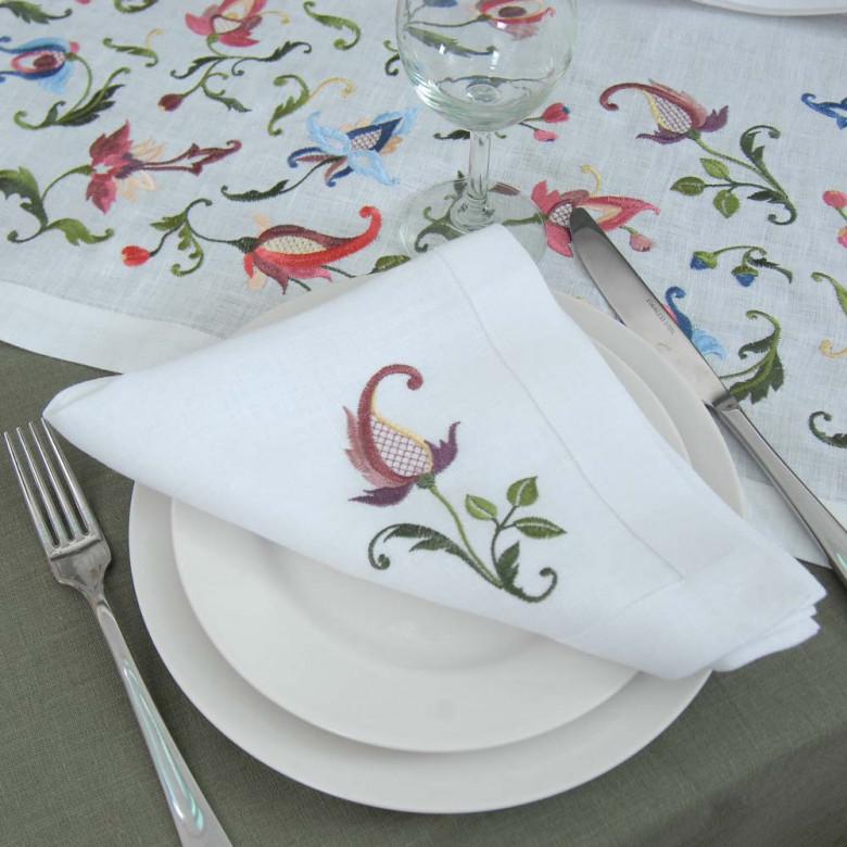 Набір серветок на стіл: 2+2+2 серветки Роксолана 40*40см (білий льон)