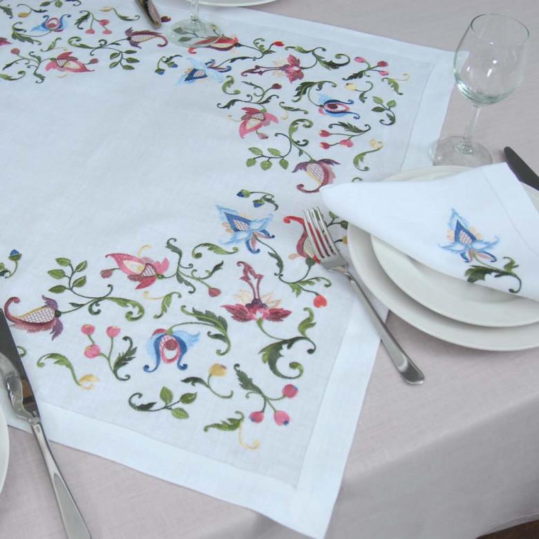 Серветка на стіл центральна Роксолана 65*65см (білий льон)