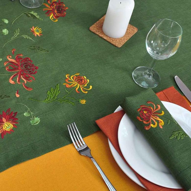Набір столовий Хризантеми: доріжка 140*40см та 4 серветки 40*40см (зелений льон)