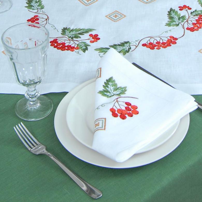Набір столовий Диво калинове: центральна серветка 65*65см та 4 серветки 40*40см (білий льон)