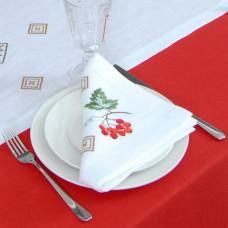 Набір серветок на стіл: 2 серветки Диво калинове 40*40см (білий льон)
