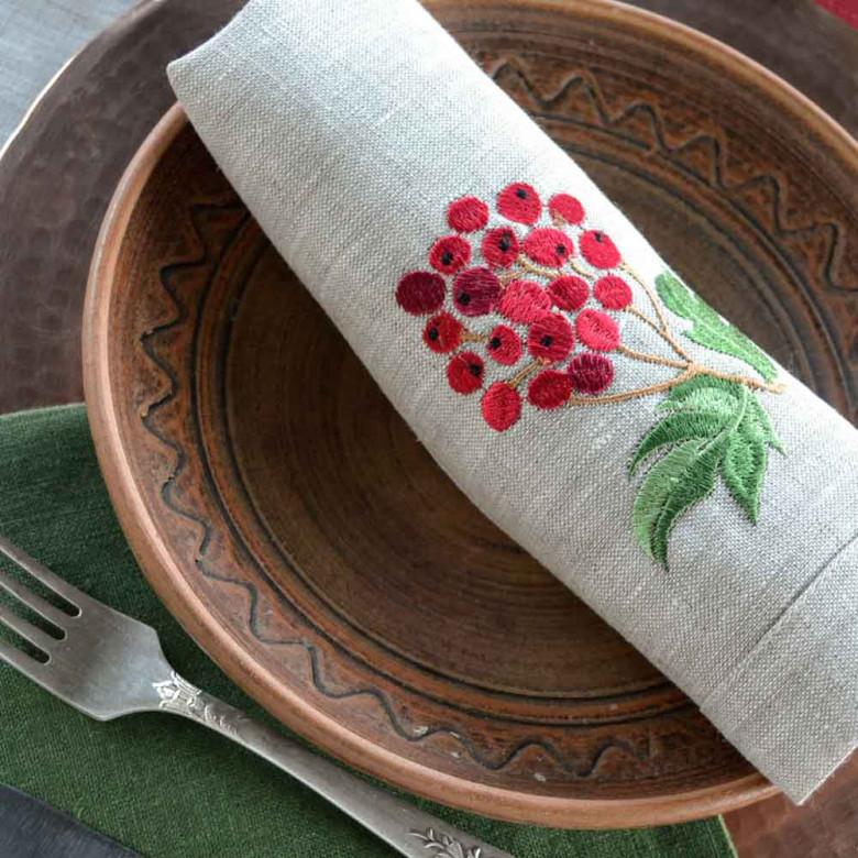 Набір серветок на стіл: 4 серветки Калина з яблуками 40*40см (сірий льон)