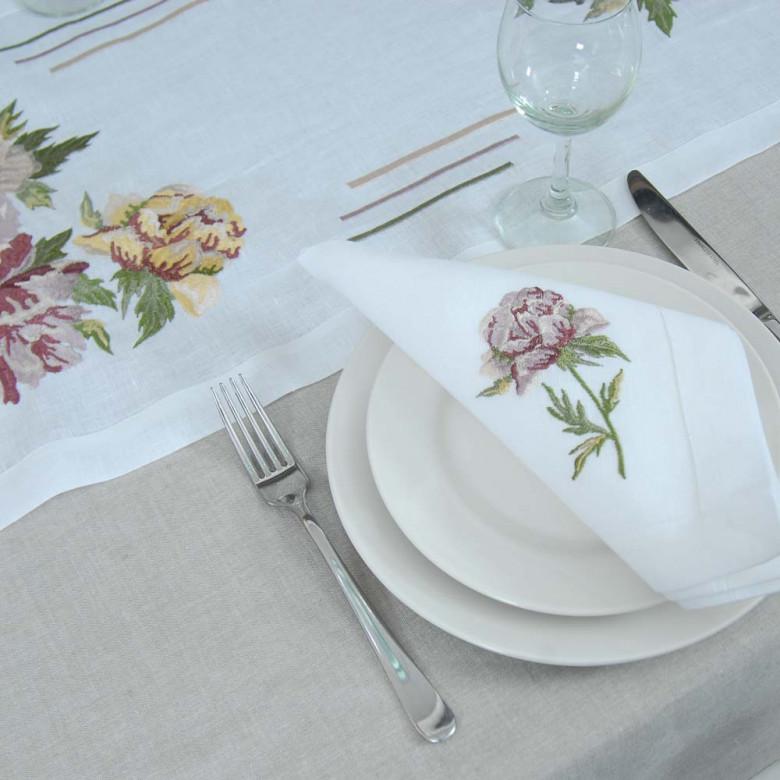 Набір столовий Півонія: доріжка 120*40см та 4 серветки 40*40см (білий льон)
