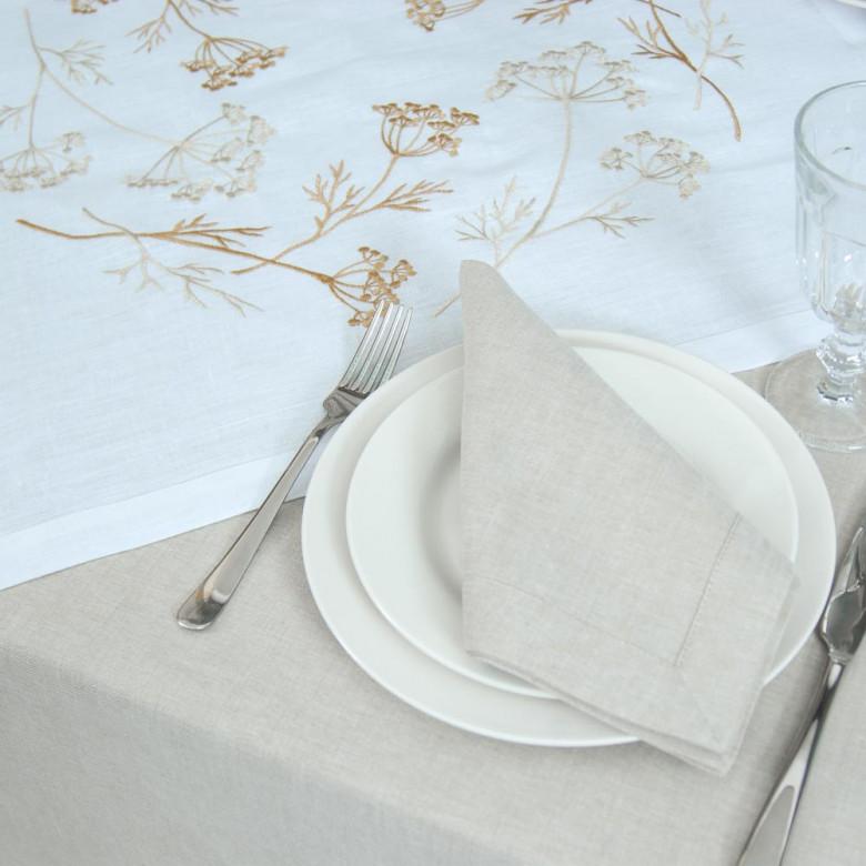 Набір столовий Суцвіття 65*65 та 4 серветки (білий льон)