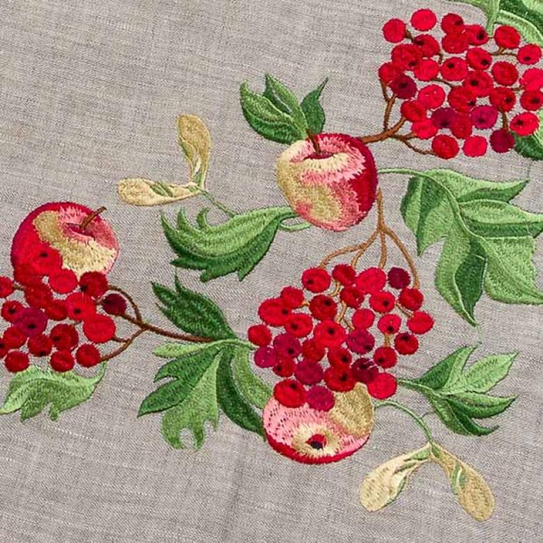 Набір столовий Калина з яблуками: центральна серветка 90*90см та 4 серветки 40*40см (сірий льон)