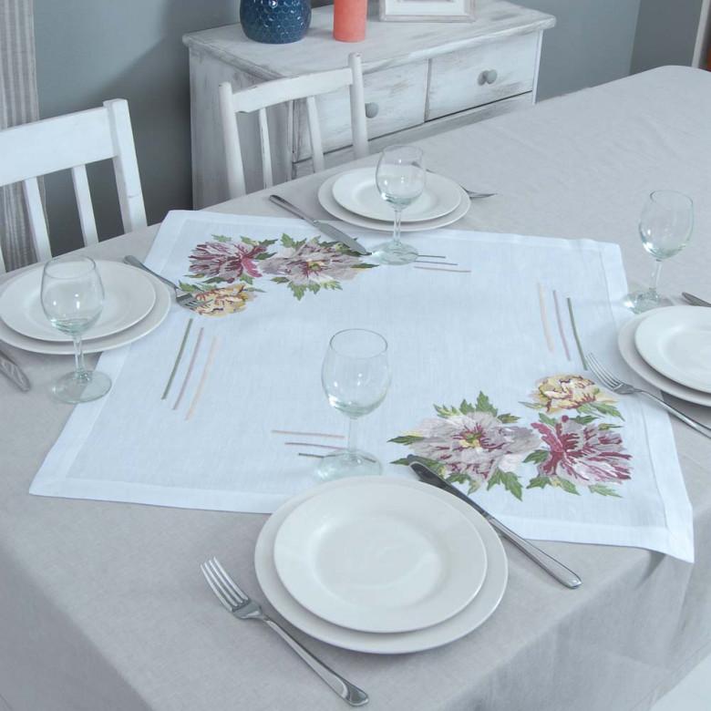 Серветка на стіл центральна Півонія 65*65см (білий льон)