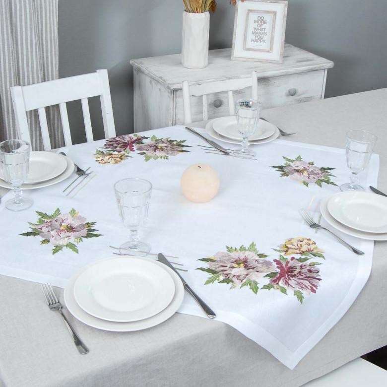 Серветка на стіл центральна Півонія 90*90см (білий льон)