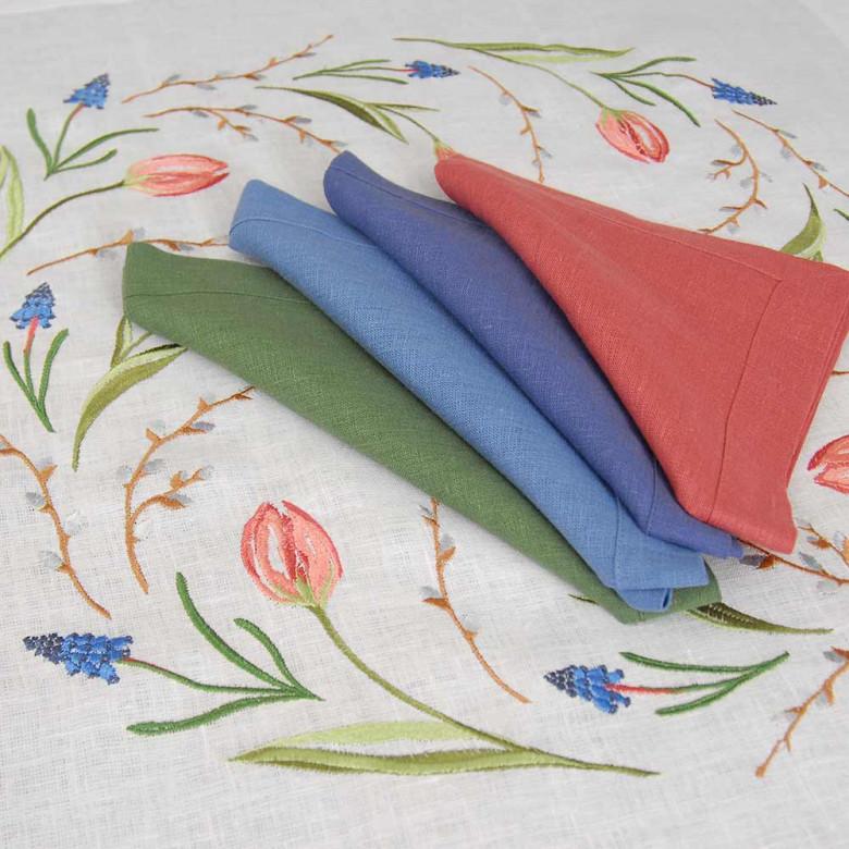 Набір столовий ТЮЛЬПАНИ 65*65 та 2+2 серветки (білий+лісова ягода)