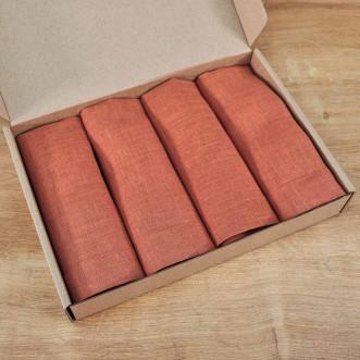 Серветки з льону 40*40 - набір 2шт (цегла льон)