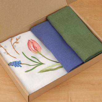 Набір столовий ТЮЛЬПАНИ 65*65 та 2+2 серветки (зелений+синій льон)