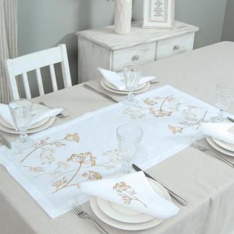 Набор столовый Соцветие 90*40 и 4 салфетки (белый лён)