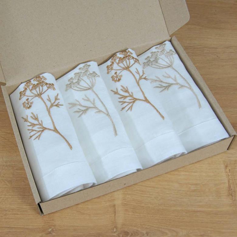Набір серветок Суцвіття - 4 шт. (білий льон)