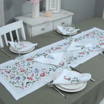 Набір столовий Роксолана доріжка 140*40см та 2+2 серветки 40*40см (білий льон)
