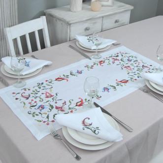 Набір столовий Роксолана доріжка 90*40см та 2+2 серветки 40*40см (білий льон)