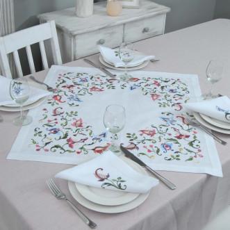 Набір столовий Роксолана центральна серветка 65*65см та 2+2 серветки 40*40см (білий льон)