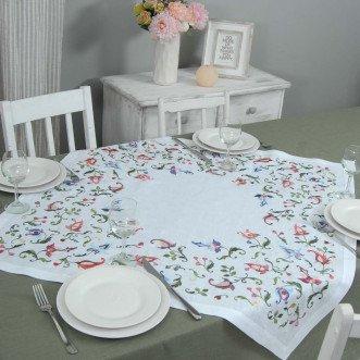 Серветка на стіл центральна Роксолана 90*90см (білий льон)