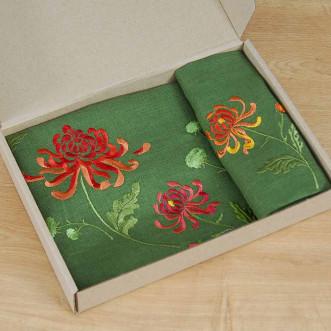 Набір столовий Хризантеми: центральна серветка 65*65см та 4 серветки 40*40см (зелений льон)