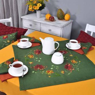 Серветка на стіл центральна Хризантеми 65*65см (зелений льон)