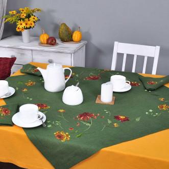 Серветка на стіл центральна Хризантеми 90*90см (зелений льон)