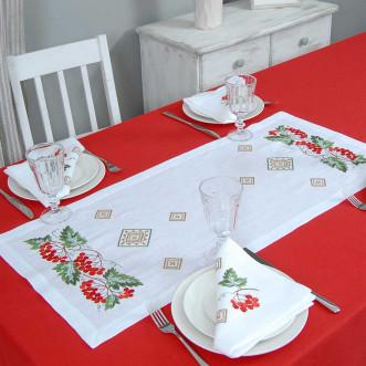 Набір столовий Диво калинове: доріжка 90*40см та 4 серветки 40*40см (сірий льон)