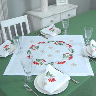 Набір столовий Диво калинове: центральна серветка 65*65см та 4 серветки 40*40см (сірий льон)