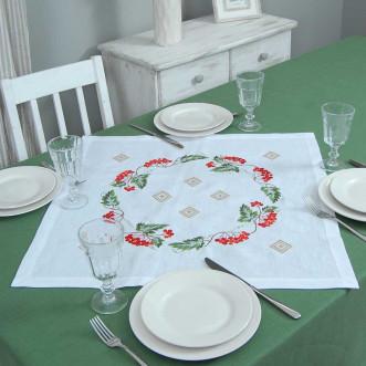 Серветка на стіл центральна Диво калинове 65*65см (сірий льон)