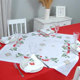 Набір столовий Диво калинове: центральна серветка 90*90см та 4 серветки 40*40см (сірий льон)