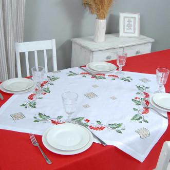 Серветка на стіл центральна Диво калинове 90*90см (сірий льон)