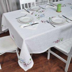 Скатертина на стіл з вишивкою ГОРТЕНЗІЯ 320*140см з серветками 12 шт.